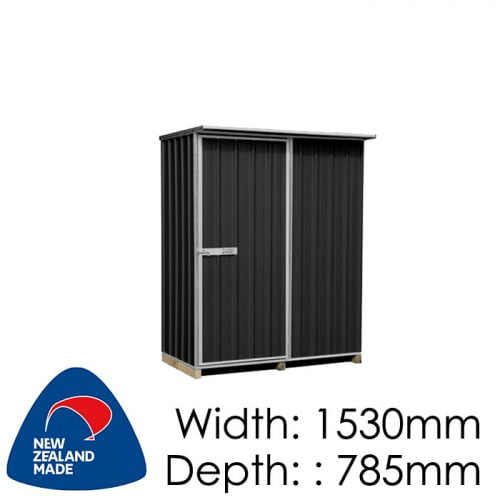 "Galvo GVO1508 1530x785 ""Ebony"" Coloured Steel Garden Shed available at Gubba Garden Shed"