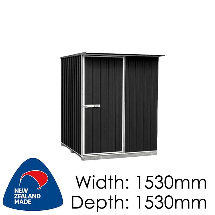 "Galvo GVO1515 1530x1530 ""Ebony"" Coloured Steel Garden Shed available at Gubba Garden Shed"