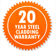 Garden Sheds NZ 20-Year-Steel-Cladding-Warranty