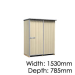 "Galvo GVO1508 ""Desert Sand"" Coloured Steel Garden Shed - Floor Kitset Included (pickup deal)"