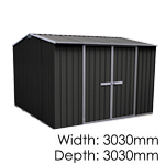 galvo-3030-Ebony-coloursteel-garden-shed