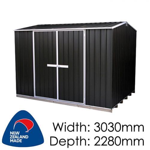 "Galvo GVO3023 3030x2280 ""Ebony"" Coloured Steel Garden Shed available at Gubba Garden Shed"
