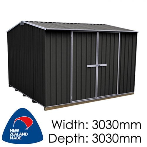 "Galvo GVO3030 3030x3030 ""Ebony"" Coloured Steel Garden Shed available at Gubba Garden Shed"