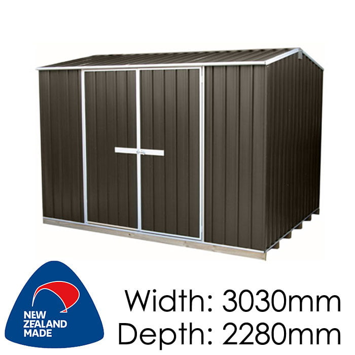 "Galvo GVO3023 3030x2280 ""Ironsand"" Coloured Steel Garden Shed available at Gubba Garden Shed"